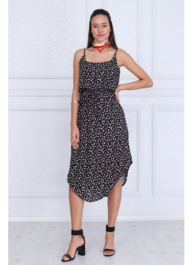 Cottonmood 9331663 Dok.Viskon Desenli Ip Askılı Çift Kat Elbise Siyah Desenli Siyah